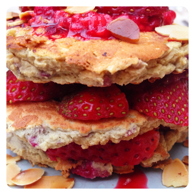Berry Protein Pancakes with Toasted Almonds