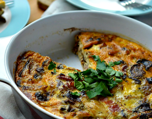 Delicious Crustless, Paleo and Dairy free Chicken Bacon and Mushroom Quiche