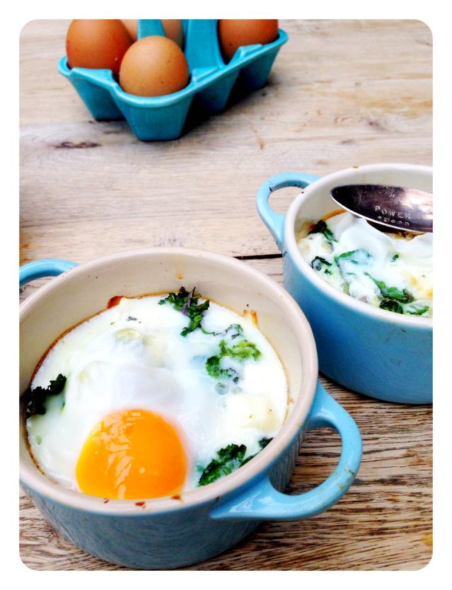 kale & feta baked eggs